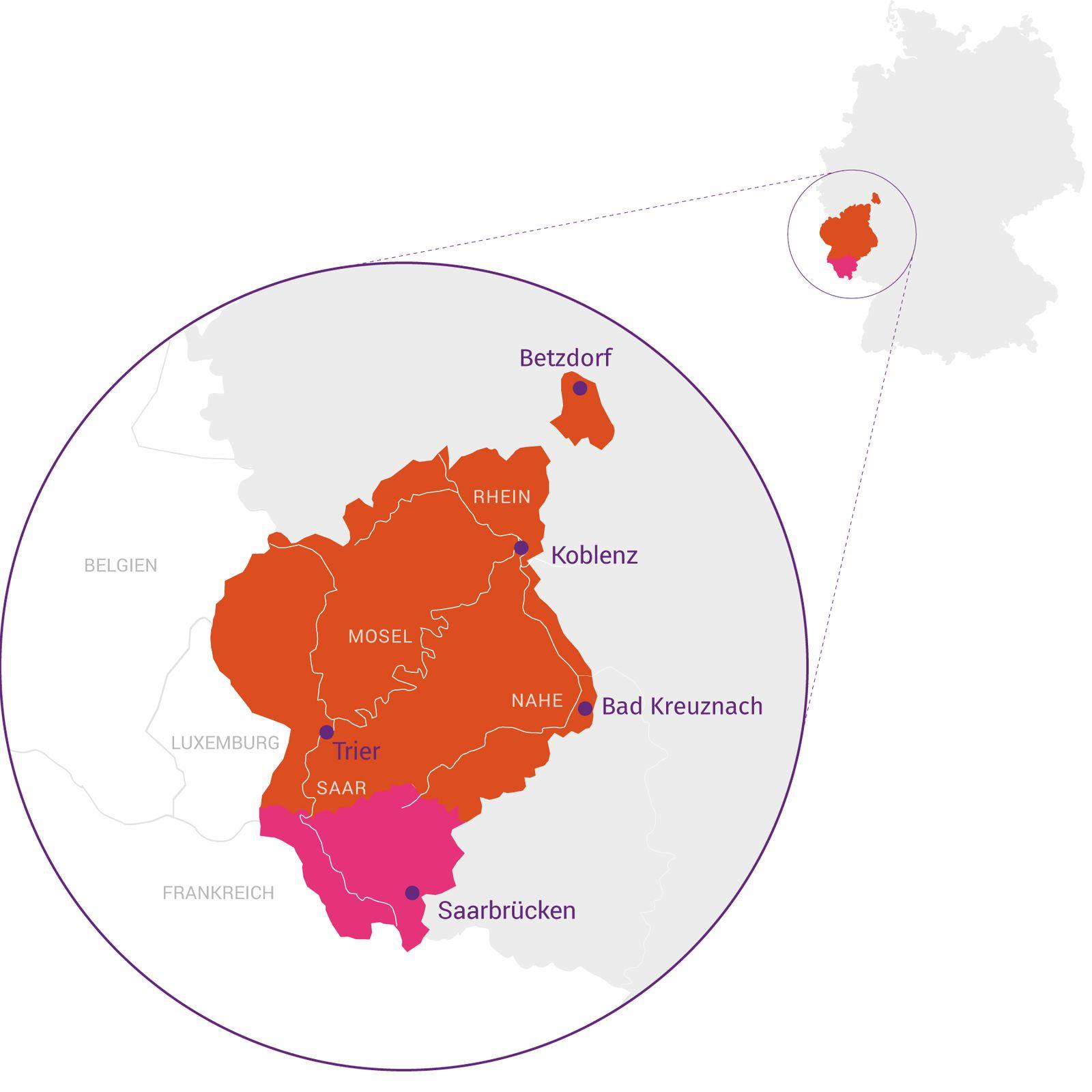 Eine Landkarte zeigt die Ausmaße des Bistums Trier