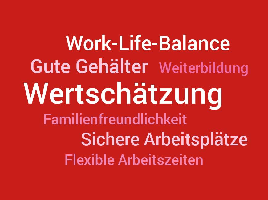 Es ist eine rote Grafik mit vielen Begriffen zu sehen, die in unterschiedlichen Rot- und Weißtönen und verschiedenen Schriftgrößen abgebildet sind.