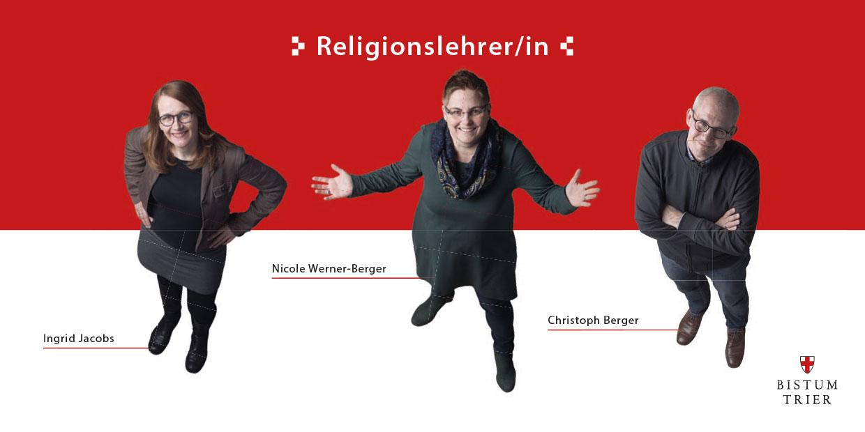 Ein rot-weißes Prospekt mit dre Überschrift Religionslehrer. Aus der Vogelperspektive sind 2 Frauen und ein Mann fotografiert. Sie schauen nach oben in die Kamera.